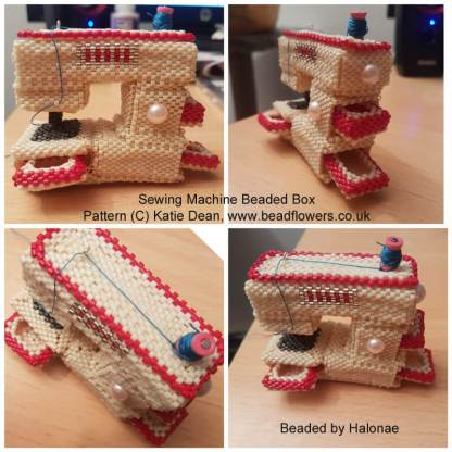sewing machine beaded box pattern by Katie Dean, beaded by Halonae