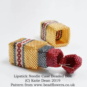 Lipstick needle case beaded box pattern, Katie Dean, Beadflowers