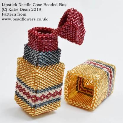 Lipstick needle case beaded box pattern, Katie Dean, Beadflowers