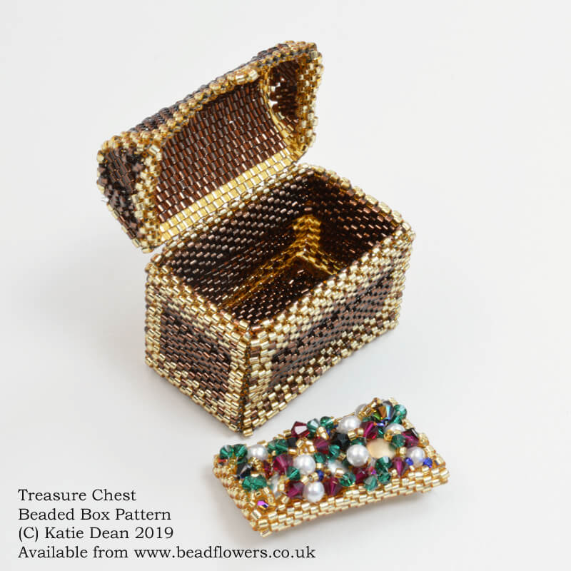 Treasure chest beaded box pattern, Katie Dean, Beadflowers