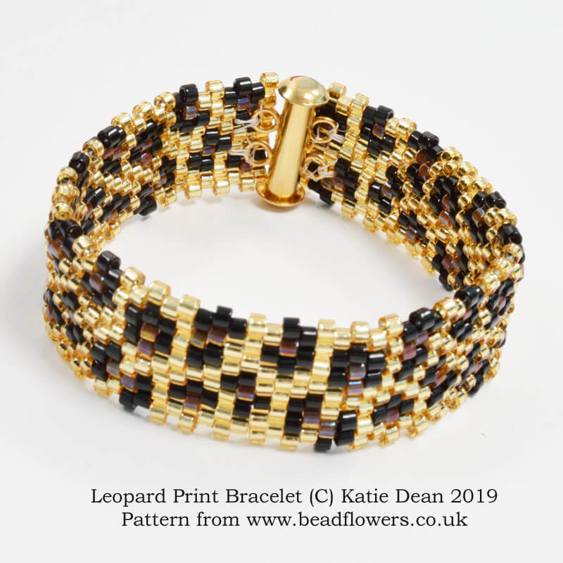 Leopard print bracelet pattern, beginner brick stitch tutorial, Katie Dean, Beadflowers