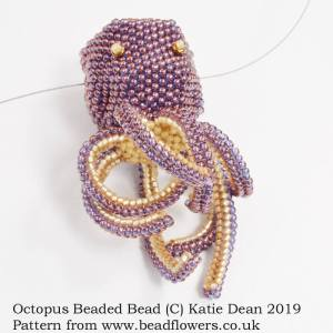 Octopus beaded bead pattern, Katie Dean, Beadflowers