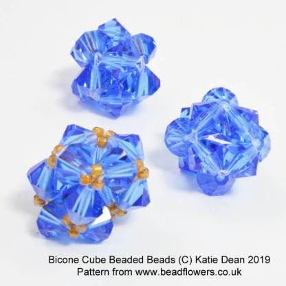 Bicone cube beaded bead pattern, Katie Dean
