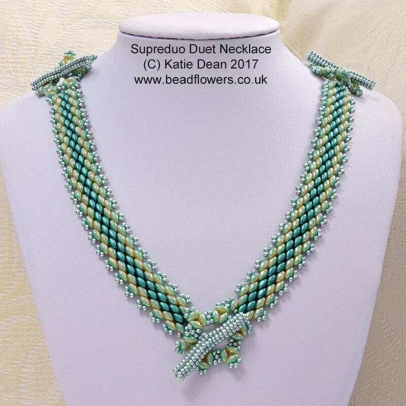 Superduo Duets Peyote Necklace and Bracelet pattern, Katie Dean, Beadflowers