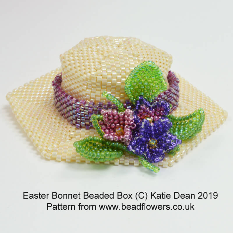 Easter Bonnet Beaded Box pattern, Katie Dean, Beadflowers