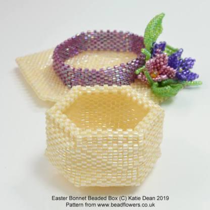 Easter bonnet beaded box pattern, Katie Dean, Beadflowers