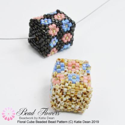 Peyote cube beaded bead: floral design, Katie Dean, Beadflowers