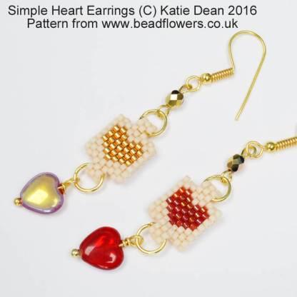 Simple Heart Earrings Pattern, Katie Dean, Beadflowers
