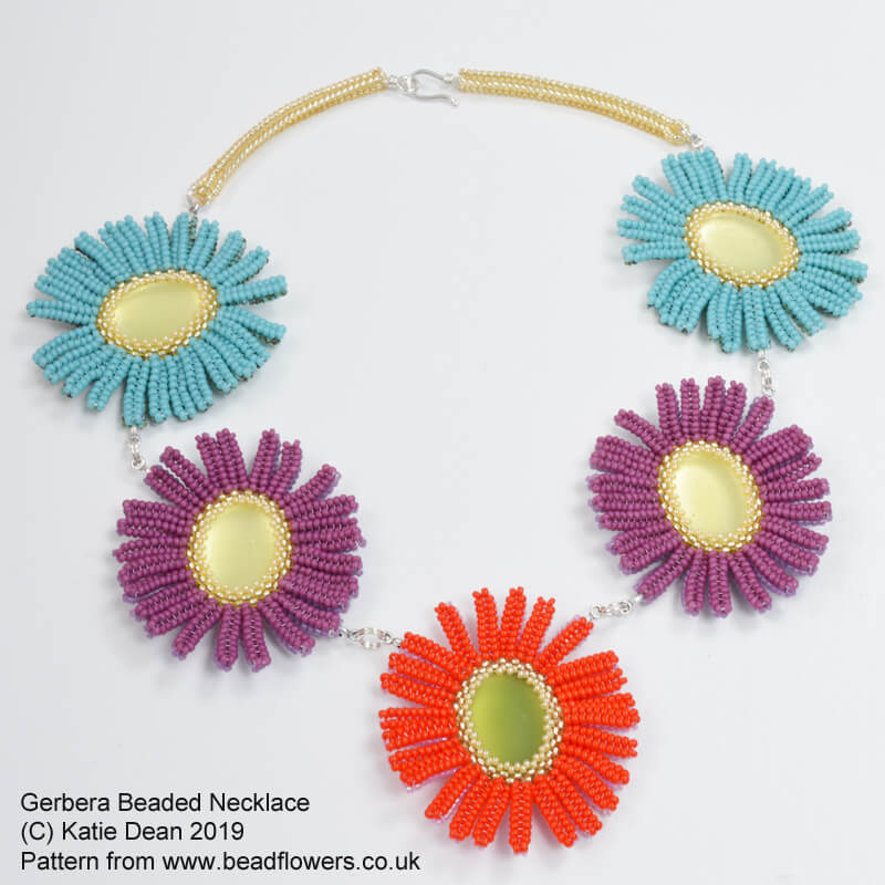 Gerbera Beaded Necklace Pattern, Katie Dean, Beadflowers
