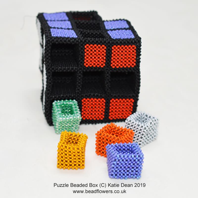 Puzzle beaded box, Katie Dean, Beadflowers
