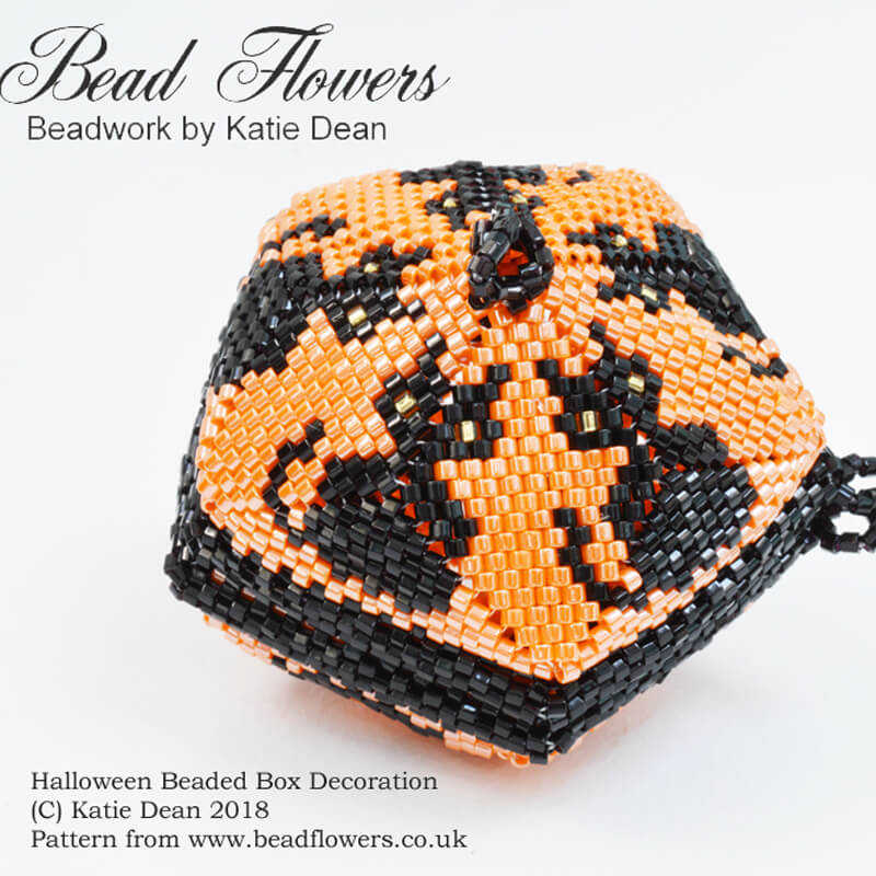 Halloween Beaded Box Decoration, Katie Dean, Beadflowers, Beaded box pattern tutorial