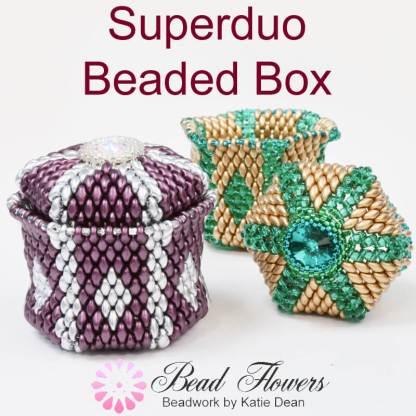 Easy beaded box tutorial, Superduo beaded box tutorial with video, Katie Dean, Beadflowers, Teachable My World of Beads, beading in 2019