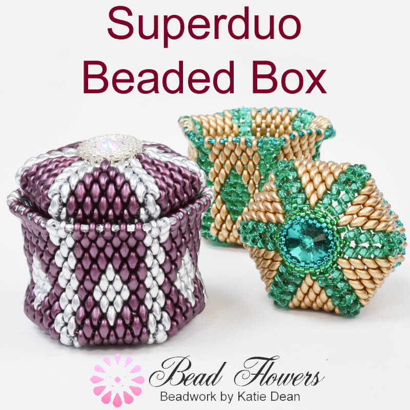 Easy beaded box tutorial, Superduo beaded box tutorial with video, Katie Dean, Beadflowers, Teachable My World of Beads, beading in 2019