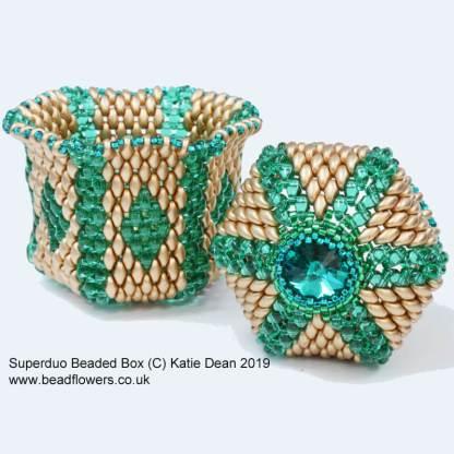 Superduo beaded box tutorial with video, Katie Dean, Beadflowers, Teachable My World of Beads