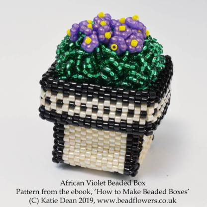 African Violet Beaded Box from the ebook, How to Make Beaded Boxes: 7 flower pot designs, by Katie Dean, Beadflowers