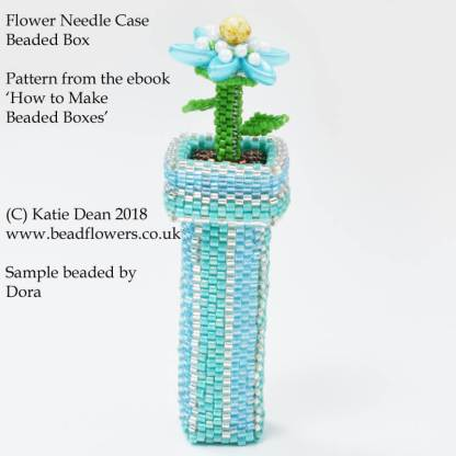 Flower needle case beaded box pattern, from the ebook, 'How to make beaded boxes: 7 flower pot designs', by Katie Dean, Beadflowers