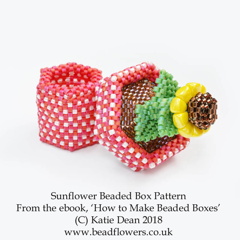 Sunflower beaded box pattern from the ebook, 'How to make beaded boxes: 7 flower pot designs', by Katie Dean, Beadflowers