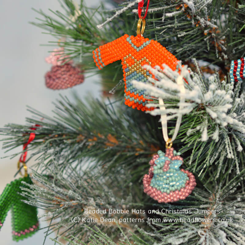 Beaded bobble hats and jumpers on a Christmas tree, Katie Dean, Beadflowers