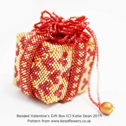 Beaded Valentines Gift Box Pattern by Katie Dean, Beadflowers