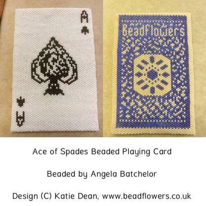 Ace of Spades, beaded playing cards pattern by Katie Dean, Beadflowers