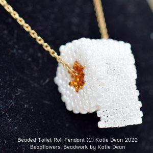 Beaded toilet roll pendant pattern, Katie Dean, Beadflowers