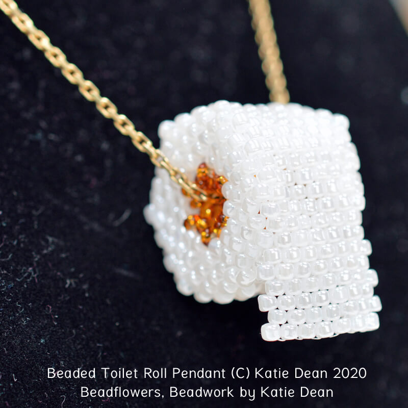 Beaded toilet roll pendant pattern, Katie Dean, Beadflowers