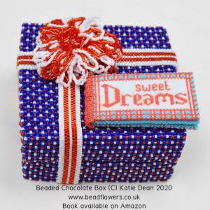 Sweet Dreams, beaded chocolate box book by Katie Dean, Beadflowers