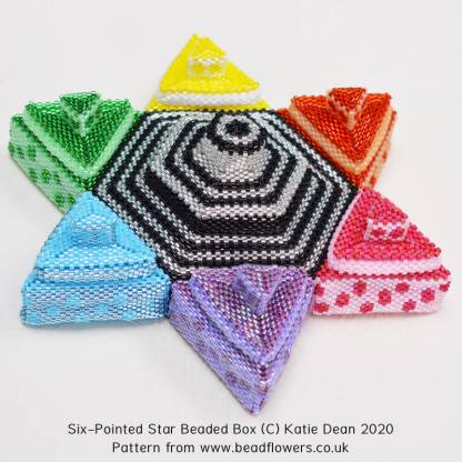Six-Pointed star, first beading project for International Beading Week 2020, by Katie Dean, Beadflowers