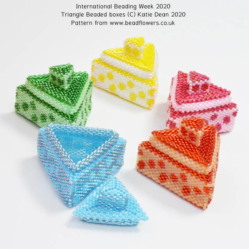 Triangle Beaded Boxes, International Beading Week 2020, Katie Dean, Beadflowers