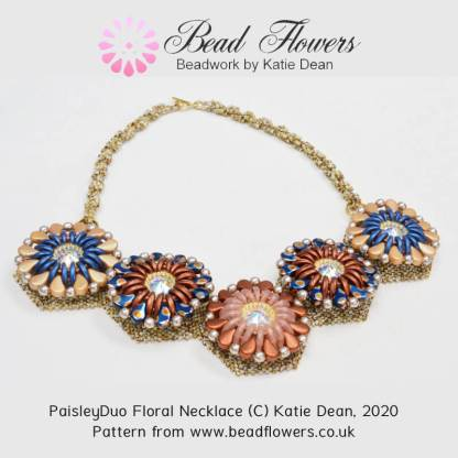 Paisley Duo Floral Necklace Pattern, Katie Dean, Beadflowers