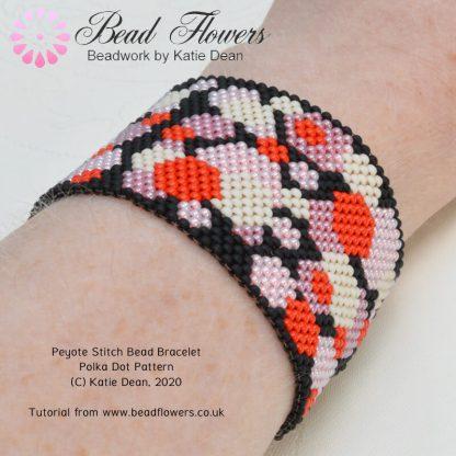 Peyote Stitch Bead Bracelet Polka Dot Pattern, Katie Dean, Beadflowers