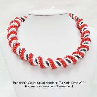 Beginner Cellini spiral necklace pattern, Katie Dean, Beadflowers