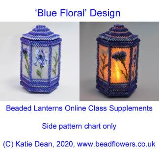Blue Floral beaded lantern side pattern chart, Katie Dean
