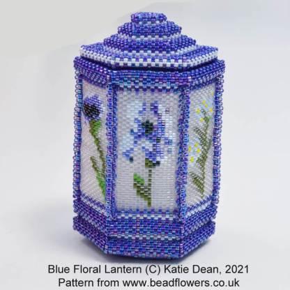 Blue Floral Beaded Lantern Side Pattern Chart, Katie Dean