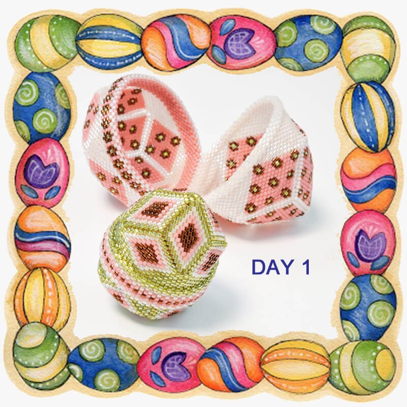 Beaded Easter egg hunt, day 1. Katie Dean, Beadflowers