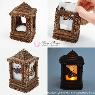 Beaded lantern with interchangeable side panels, Katie Dean, Beadflowers