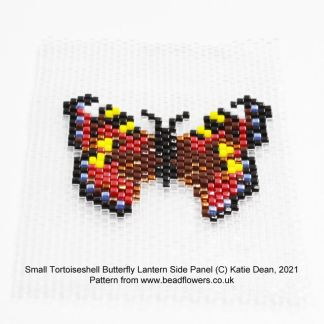 Small Tortoiseshell Butterfly peyote pattern for beaded lantern side panels, Katie Dean, Beadflowers