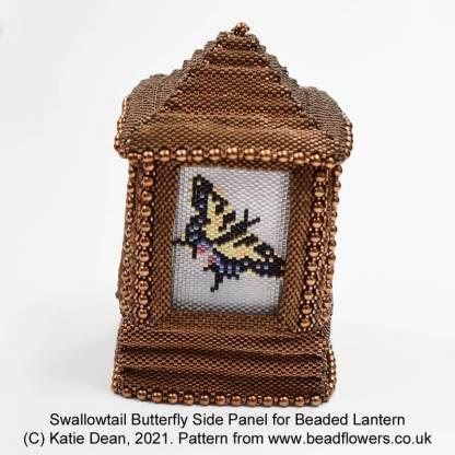 Swallowtail butterfly side panel for beaded lantern, by Katie Dean, Beadflowers