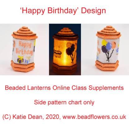 Happy Birthday Beaded Lantern Design for online lanterns class, Katie Dean