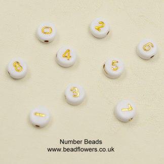 Plastic number beads 7mm diameter