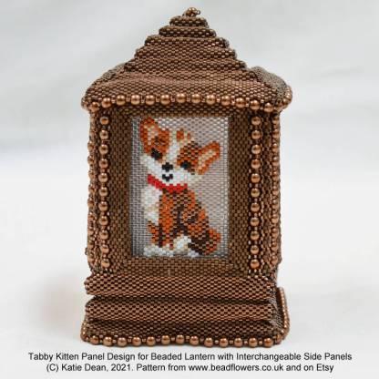 Tabby cat kitten Peyote stitch pattern for beaded lantern by Katie Dean, Beadflowers