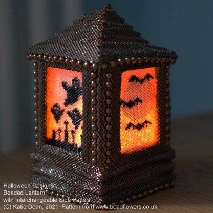 Beaded bat and moon, ghostly graveyard Peyote stitch panel for beaded lantern with interchangeable side panels, by Katie Dean, Beadflowers