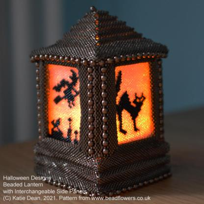 Halloween cat and witch on broomstick panels for beaded lantern with interchangeable side panels, Katie Dean, Beadflowers