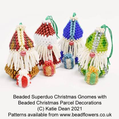 Beaded Christmas parcel decorations with gnomes, Katie Dean, Beadflowers