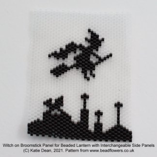 Halloween witch peyote stitch panel for beaded lantern with interchangeable sides, Katie Dean, Beadflowers