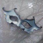 leather bat mask in grey and black