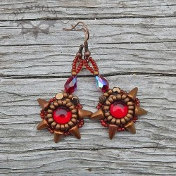 beaded cabochon earrings in ruby and bronze