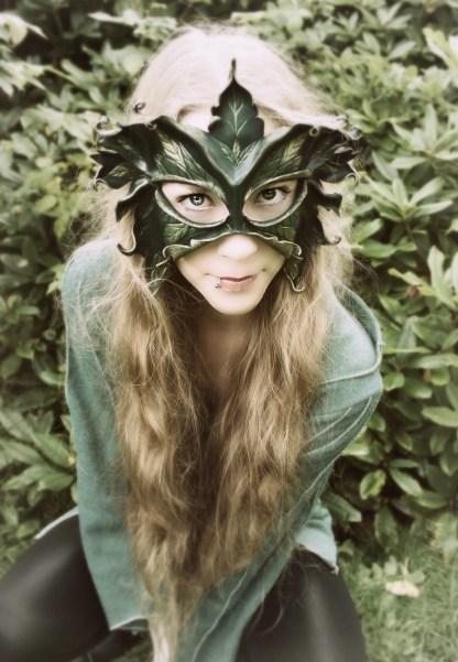 leaf lady leather mask