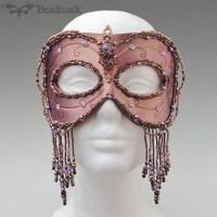 beaded leather gala mask