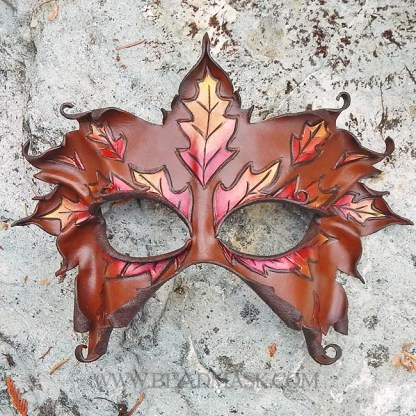 autumn leaves leather mask